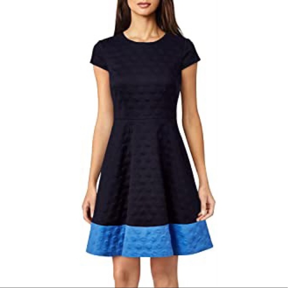 Eliza J Dot Textured Knit Fit and Flare Dress, Blue, NWT, size 10